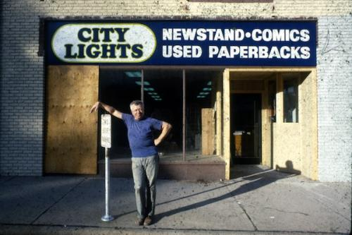 Gary in front of the newly opened City Lights Bookstore, Sylva NC